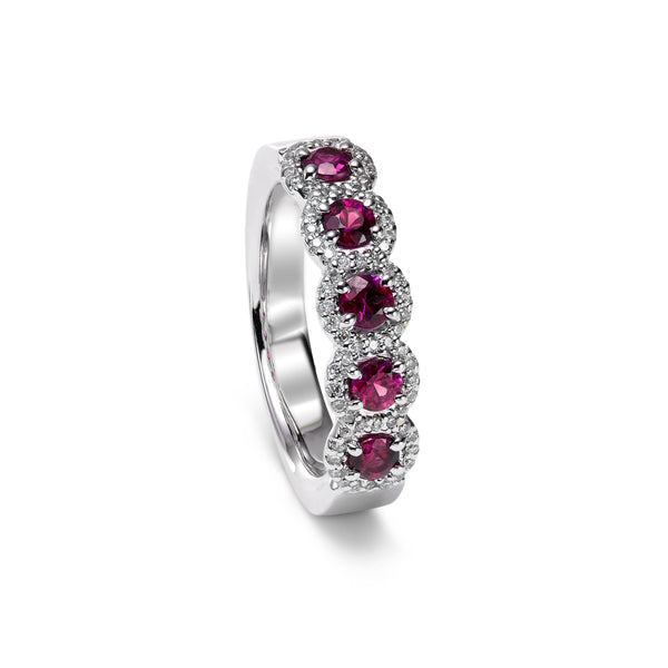 Ruby and Diamond Halo Band, 14K White Gold, Size 8