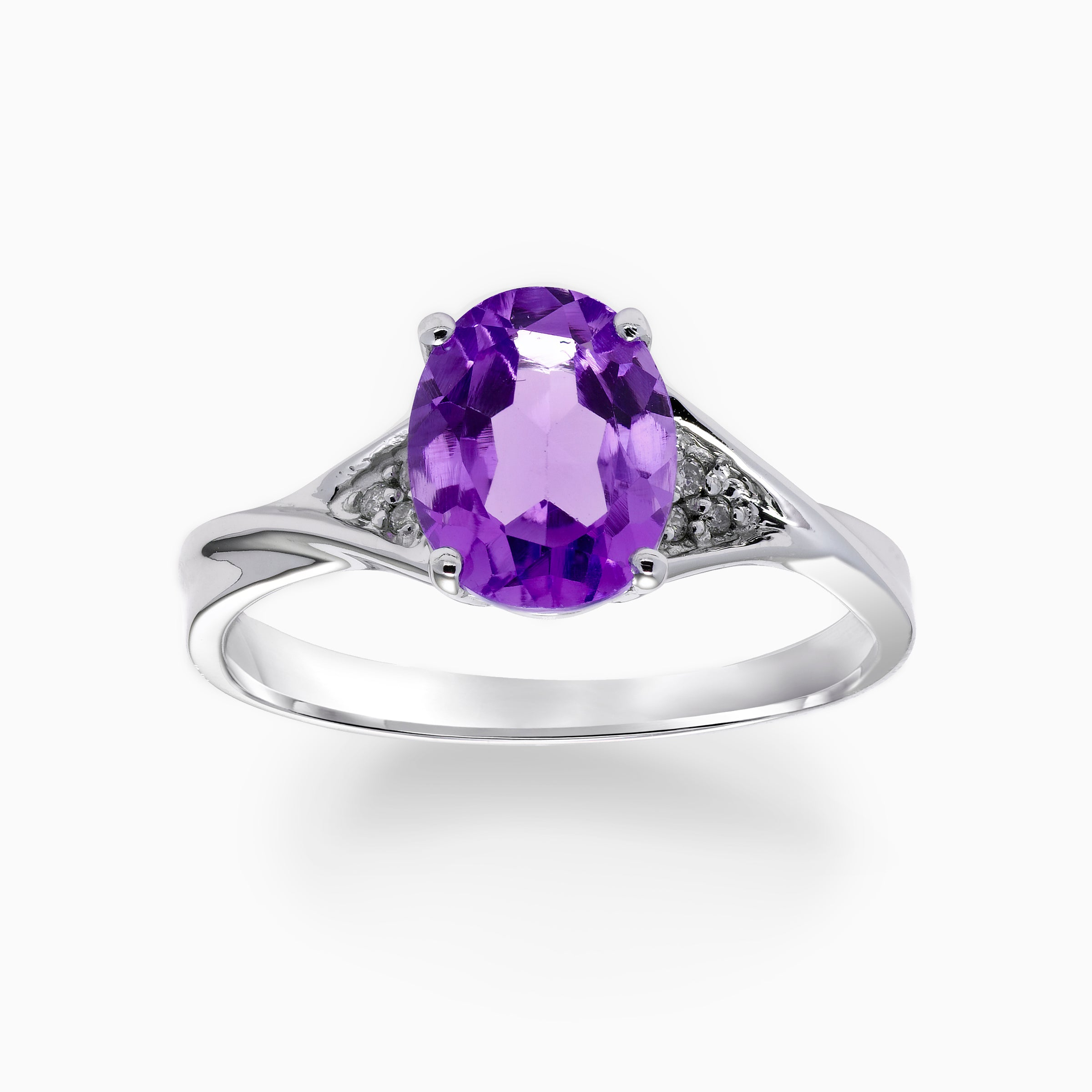 Oval Amethyst Ring with Diamonds, 14K White Gold
