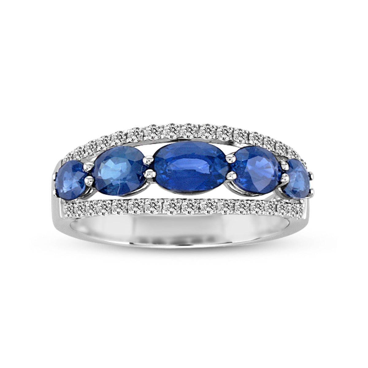 Oval Blue Sapphire and Diamond Ring, 18K White Gold