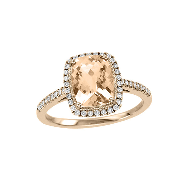 Cushion Cut Morganite and Diamond Ring, 14K Rose Gold