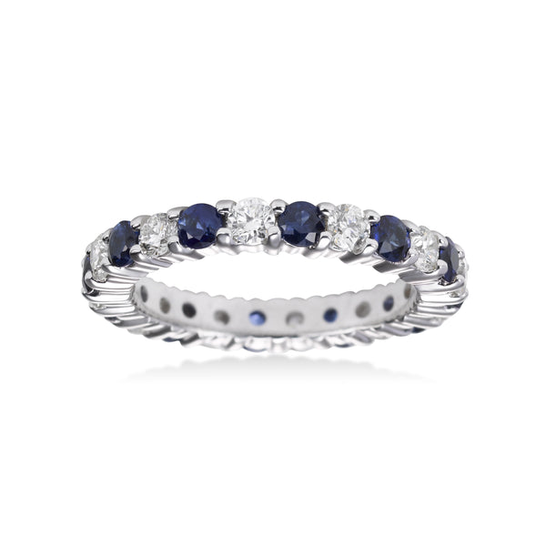Sapphire and Diamond Eternity Band, 14K White Gold