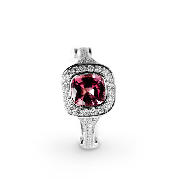 Pink Spinel and Diamond Ring, 18K White Gold