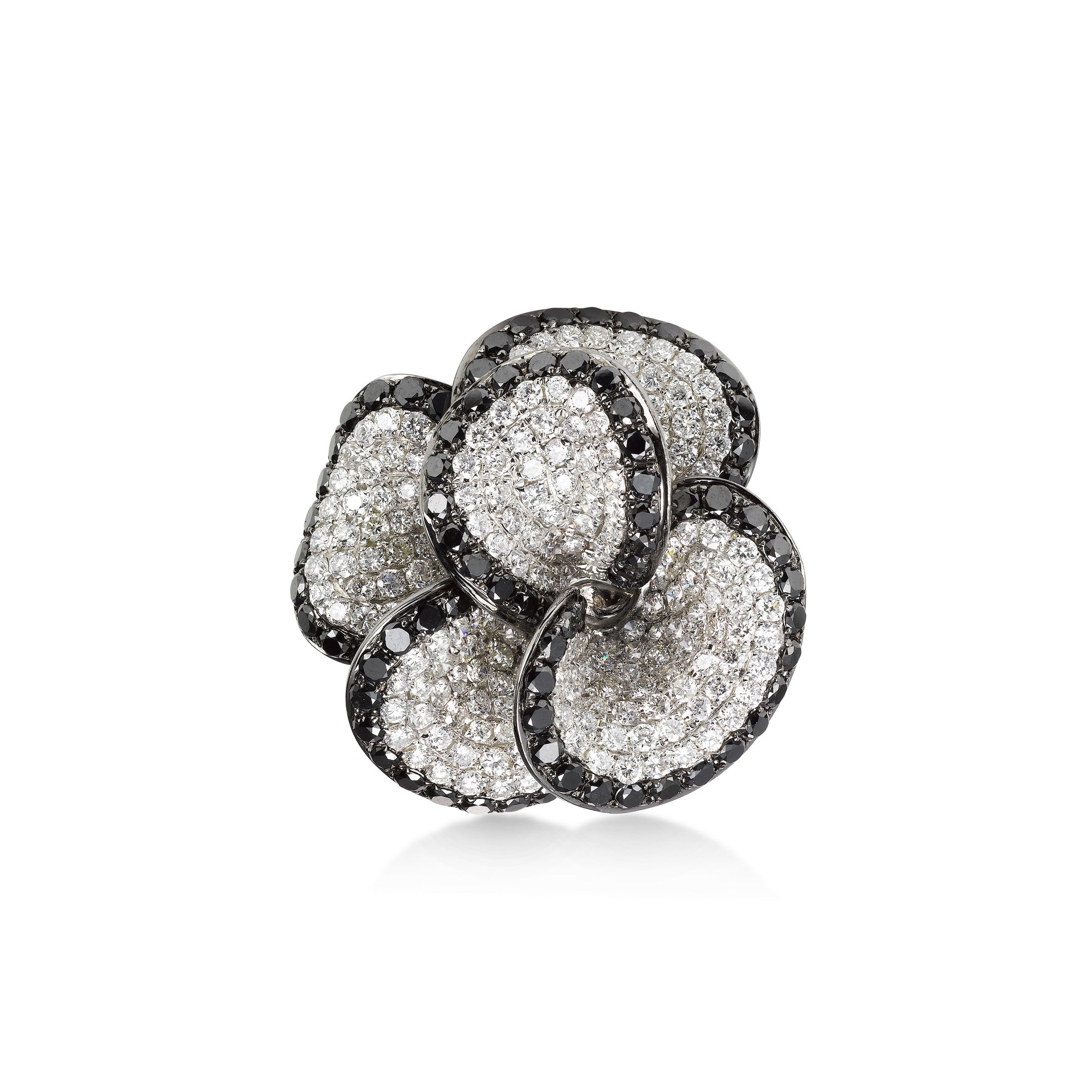 White and Black Diamond Flower Ring, 18K White Gold