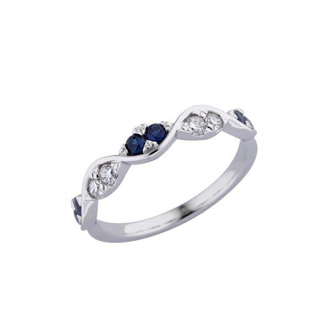 Curved Sapphire and Diamond Ring, 14K White Gold