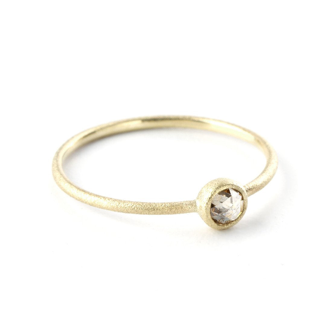 Bezel Set Champagne Diamond Ring, 14K Yellow Gold