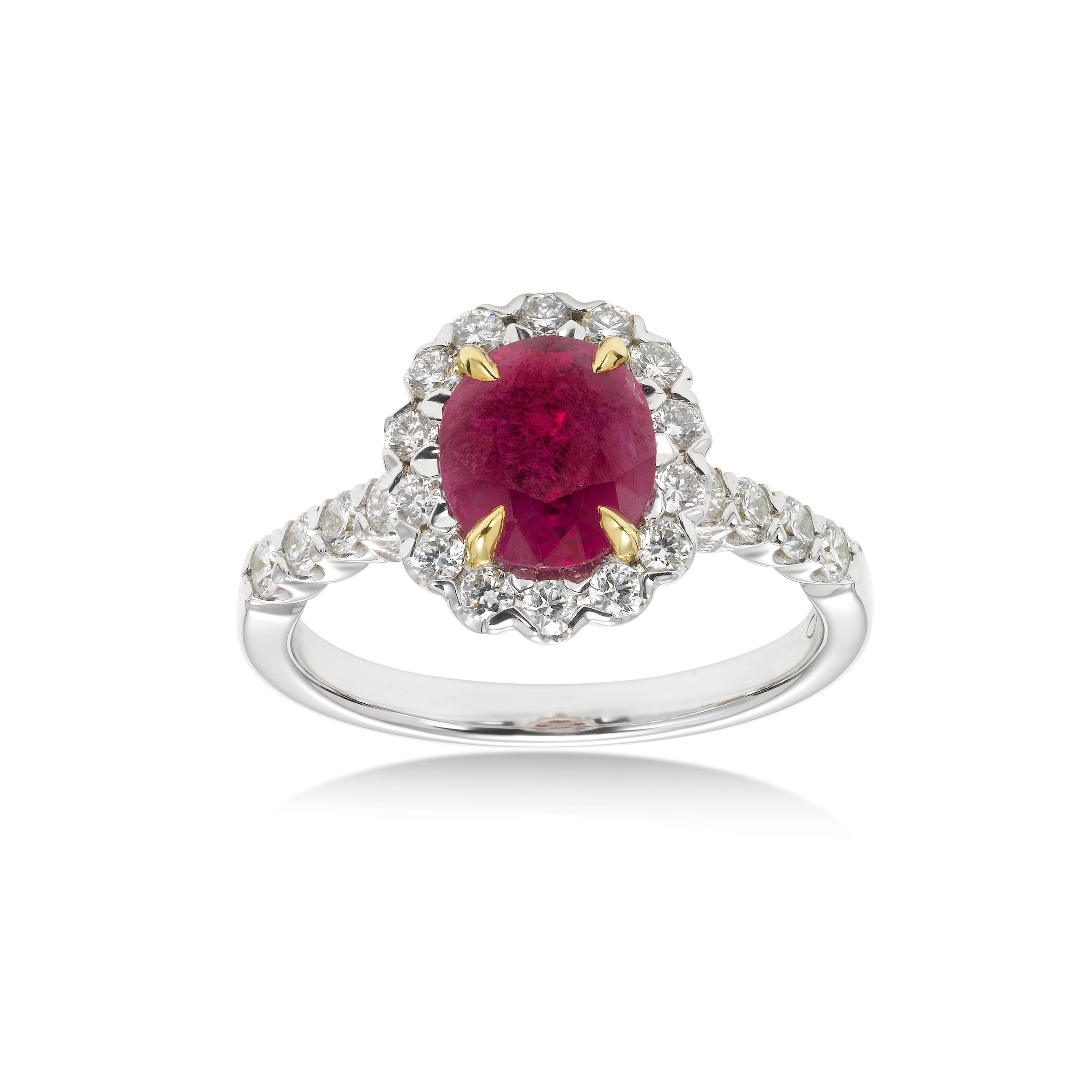 Ruby and Diamond Ring, 18K White Gold