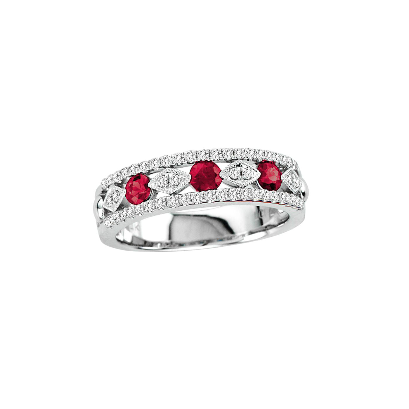 Vintage Look Ruby and Diamond Ring, 14K White Gold