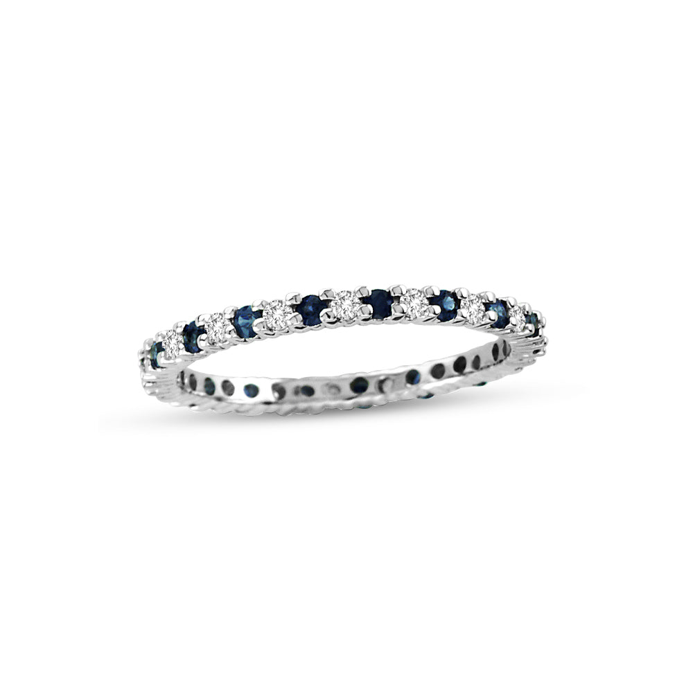 Blue Sapphire and Diamond Eternity Band, 14K White Gold