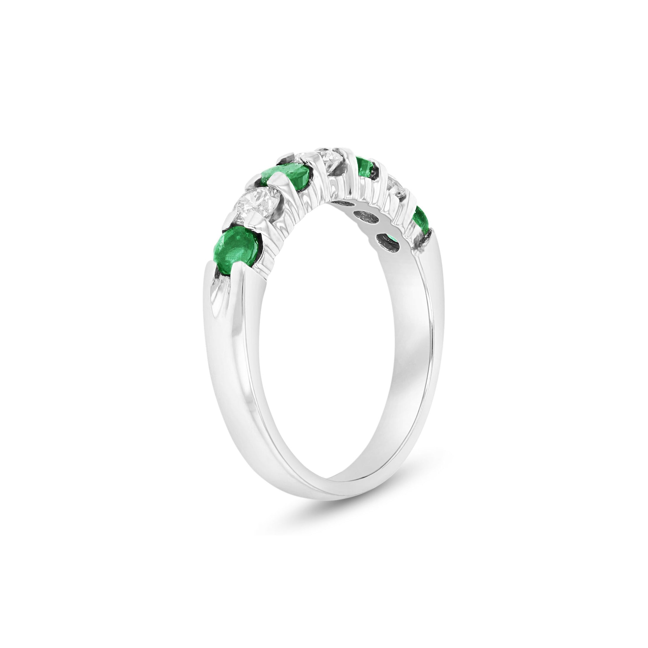Seven Stone Emerald and Diamond Ring, 14K White Gold