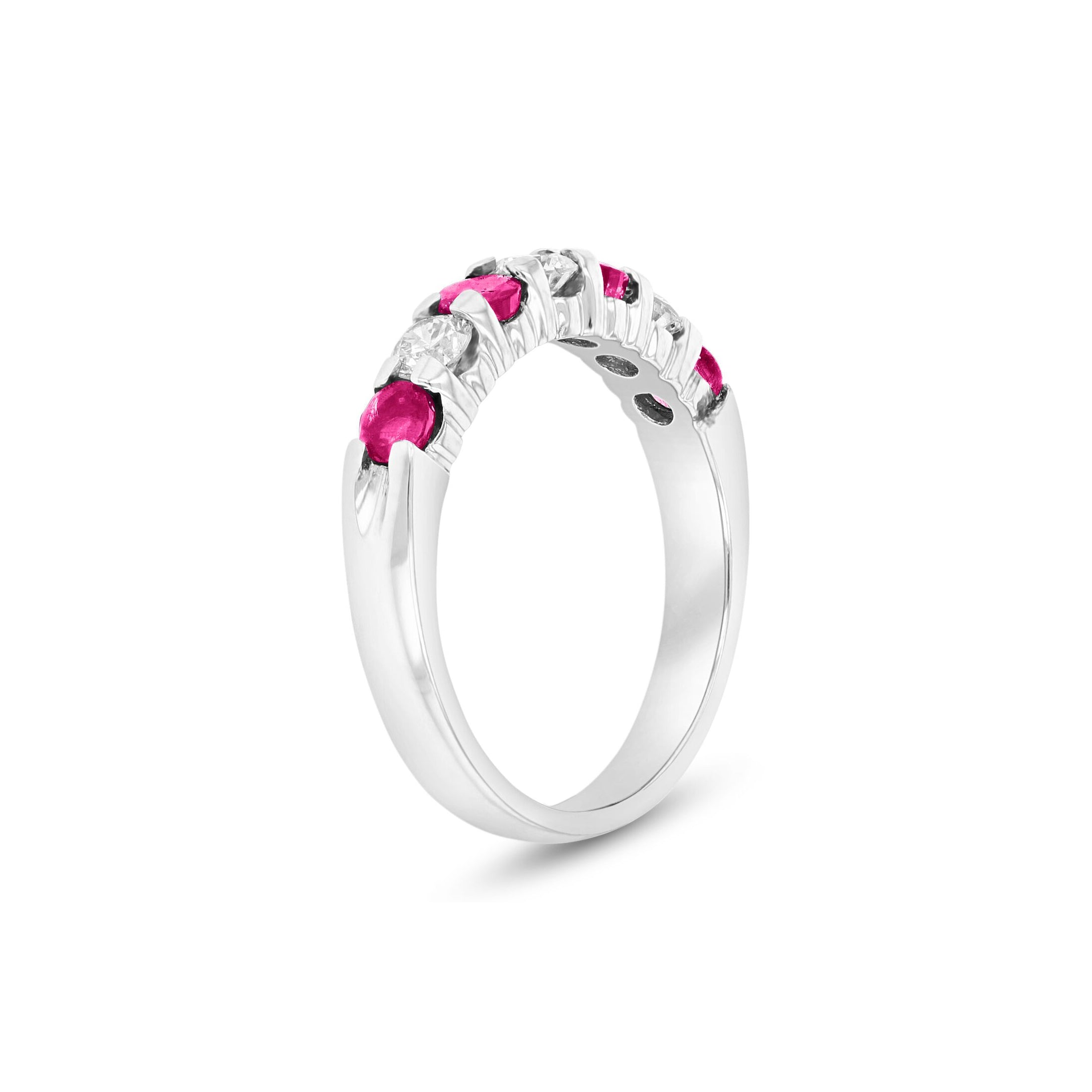 Seven Stone Ruby and Diamond Ring, 14K White Gold