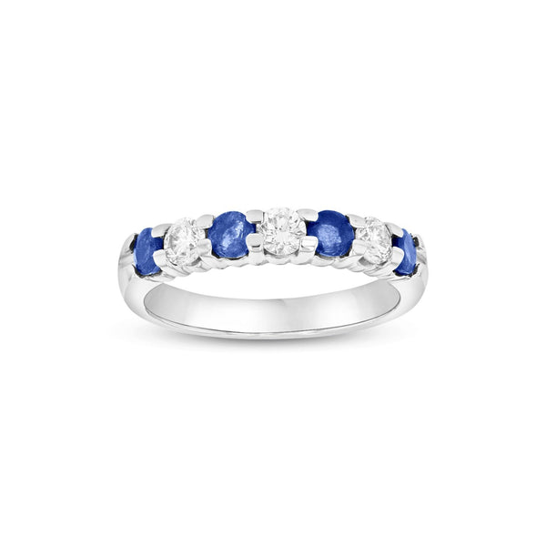 Seven Stone Sapphire and Diamond Ring, 14K White Gold