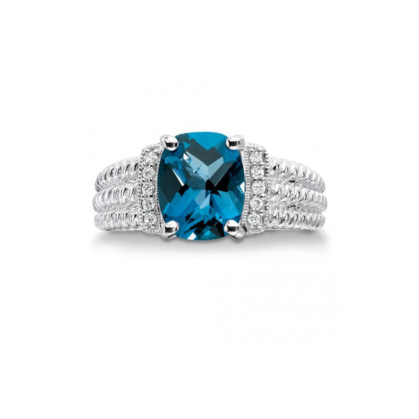 Oval London Blue Topaz Ring, Sterling Silver
