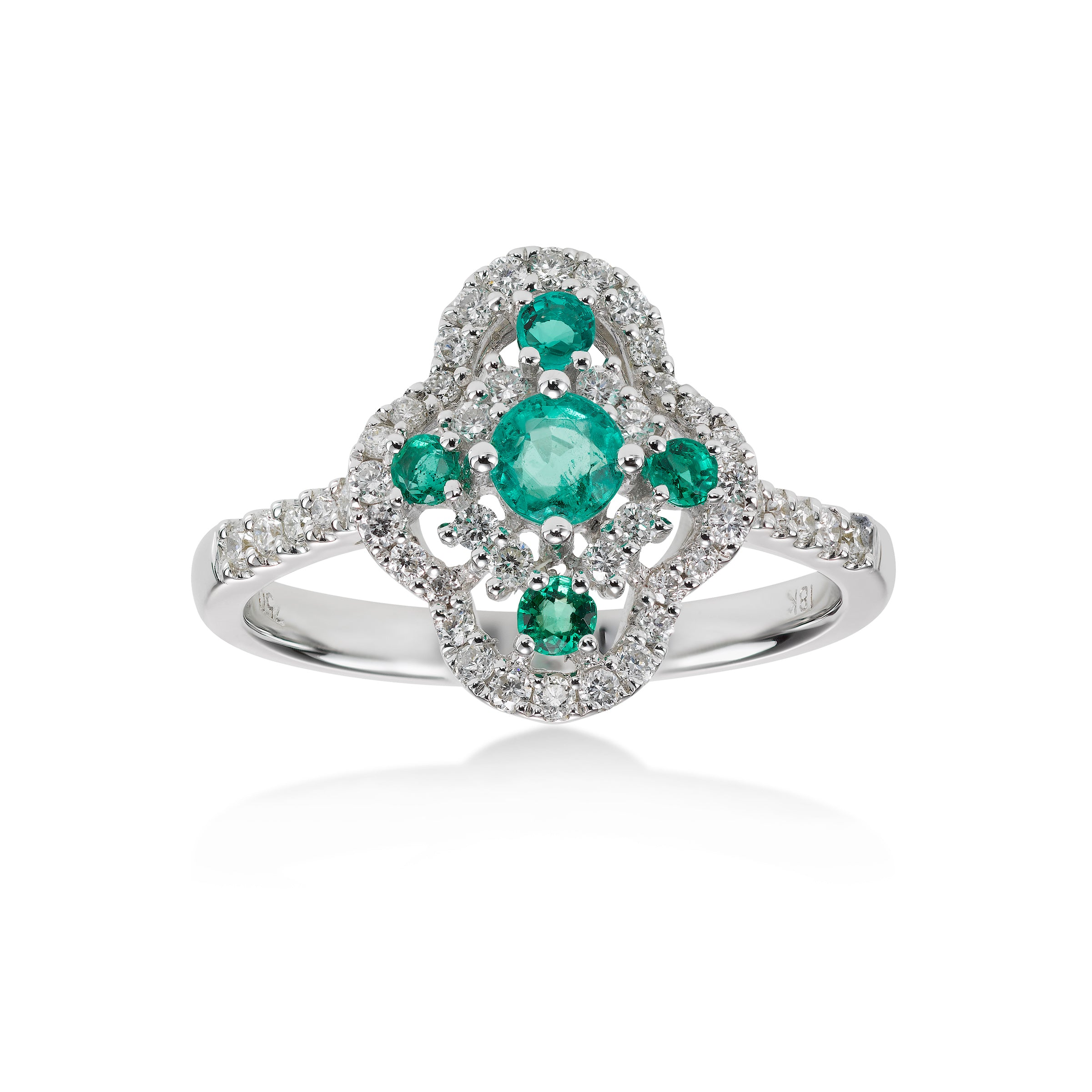 Vintage Style Emerald and Diamond Ring, 18K White Gold