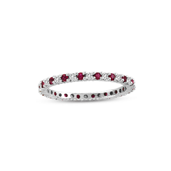 Ruby and Diamond Eternity Band, 14K White Gold