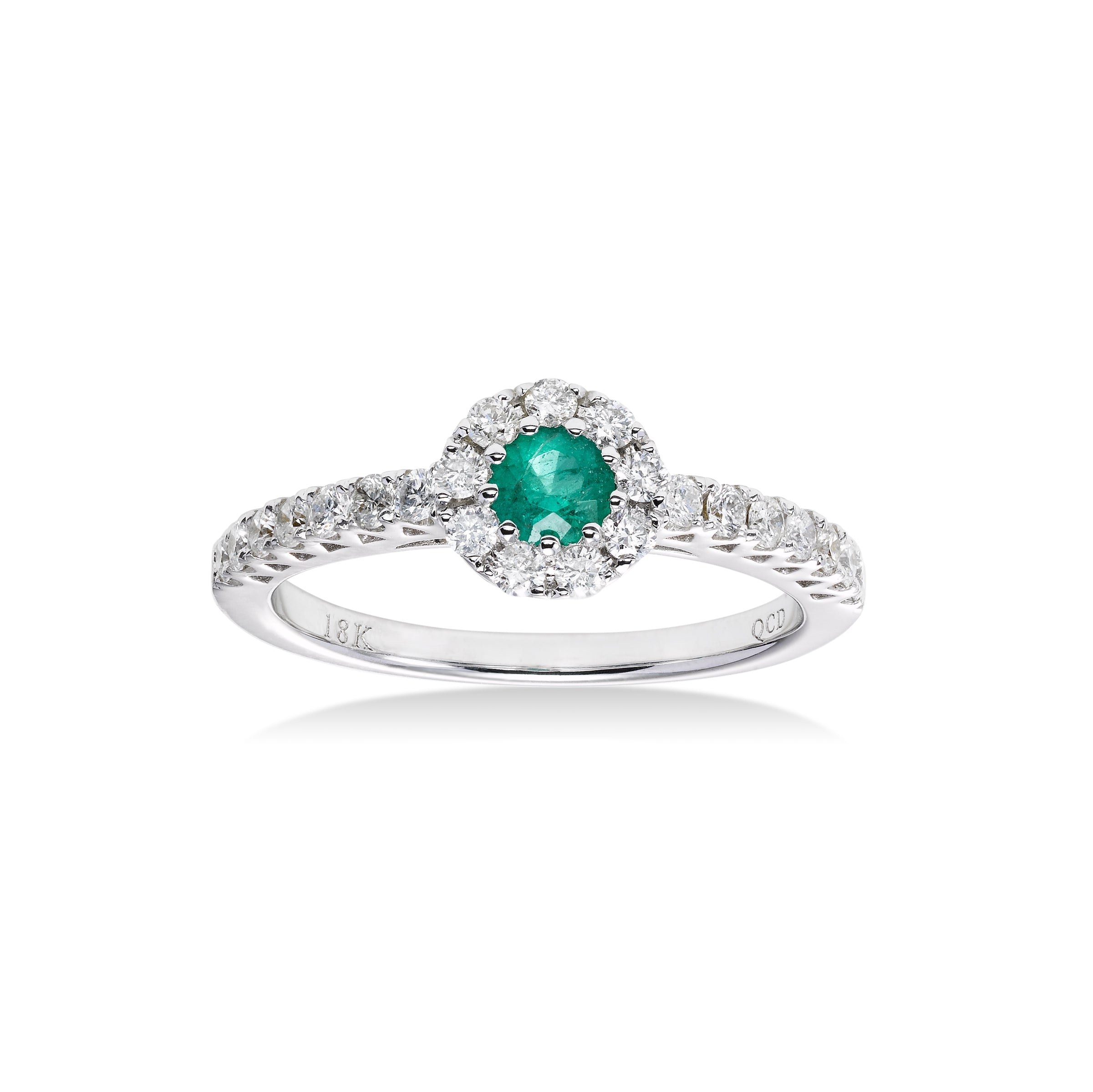 Round Emerald and Diamond Ring, 18K White Gold
