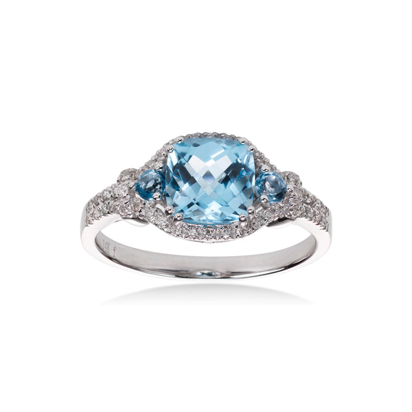 Cushion Shaped Blue Topaz and Diamond Ring, 14K White Gold