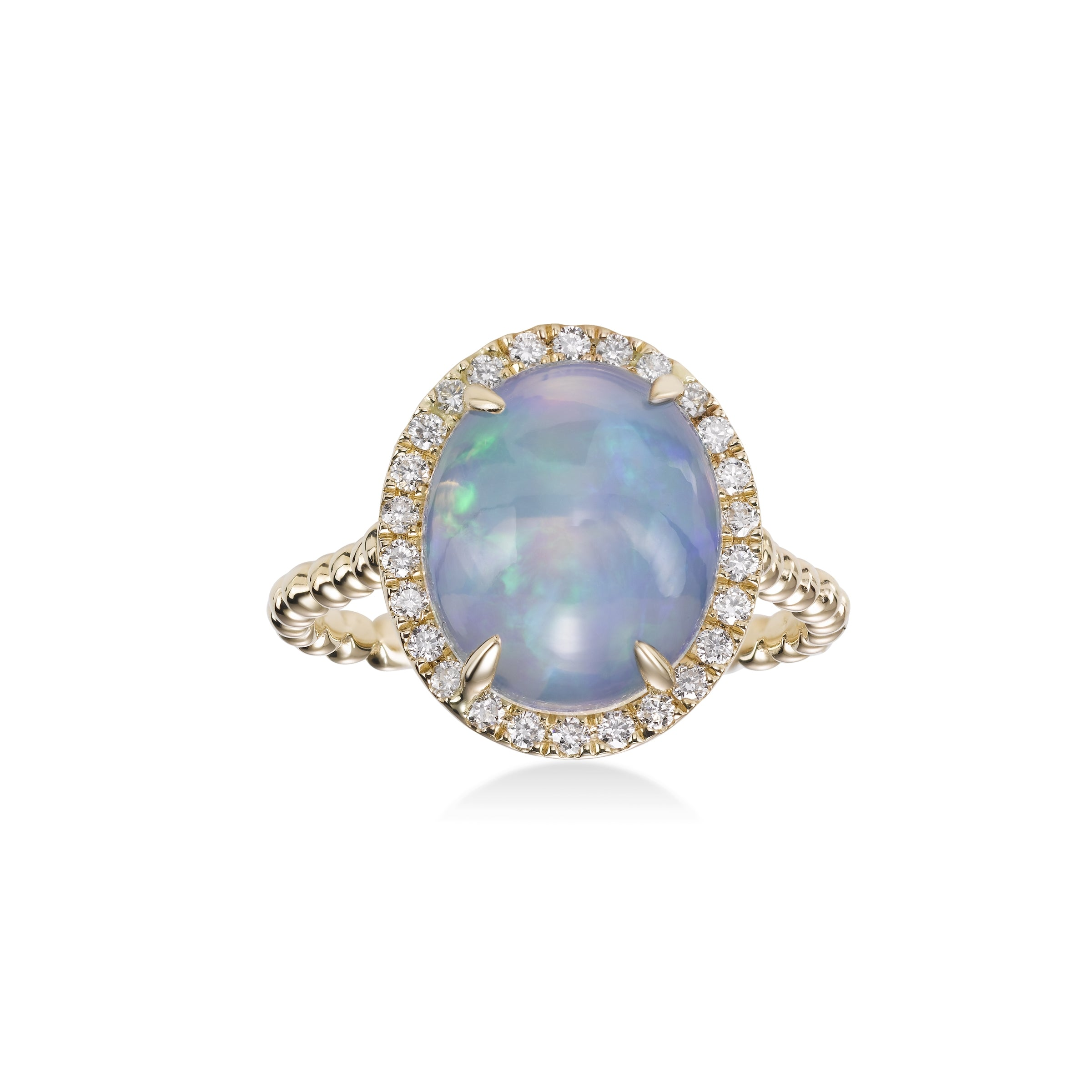 Oval Opal and Diamond Halo Ring, 14K Yellow Gold