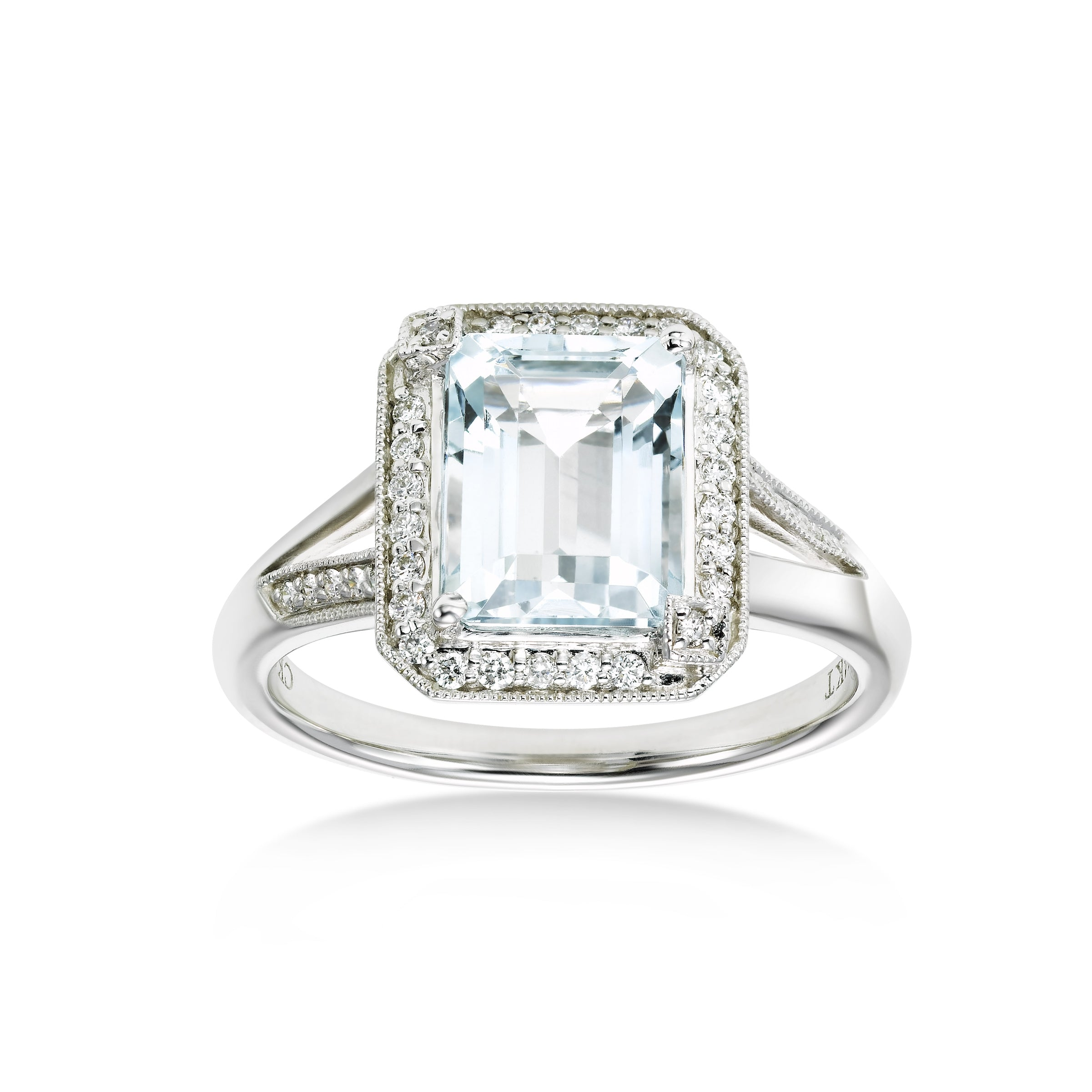 Emerald Cut Aquamarine and Diamond Ring, 14K White Gold