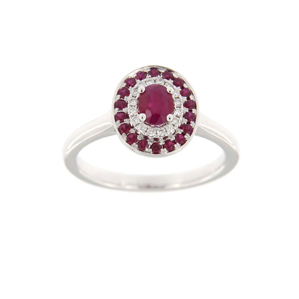 Red Ruby and Diamond Ring, 14K White Gold