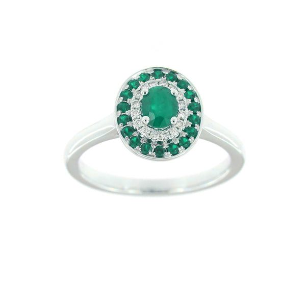 Emerald and Diamond Ring, 14K White Gold