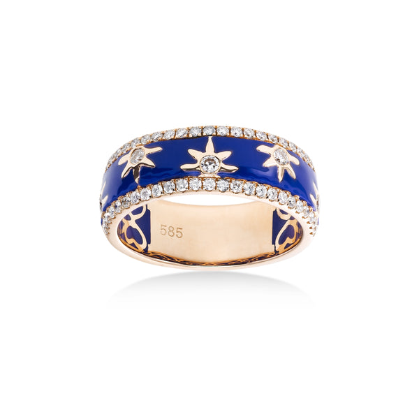 Wide Diamond and Blue Enamel Band, 14K Rose Gold