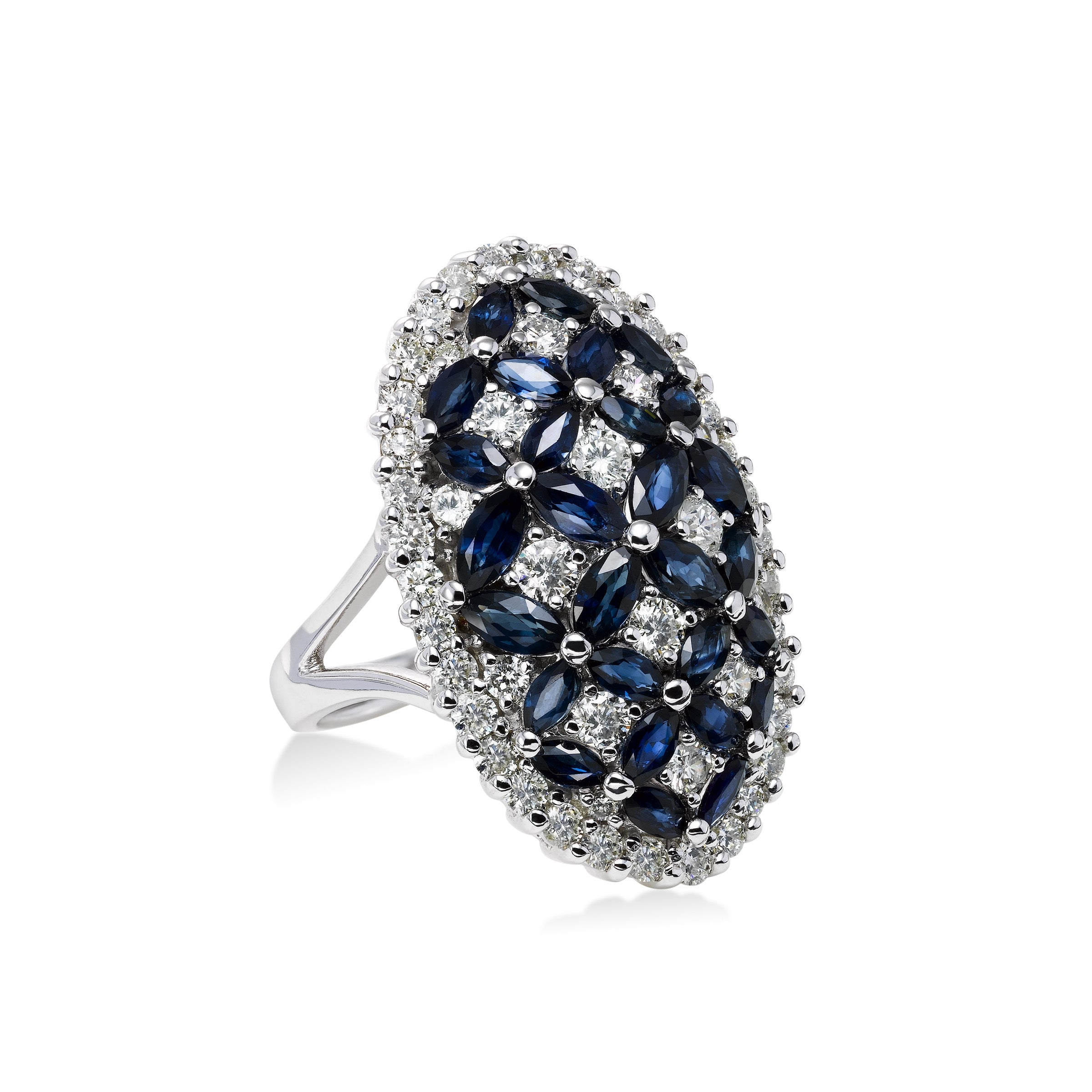 Large Oval Sapphire and Diamond Ring, 14K White Gold