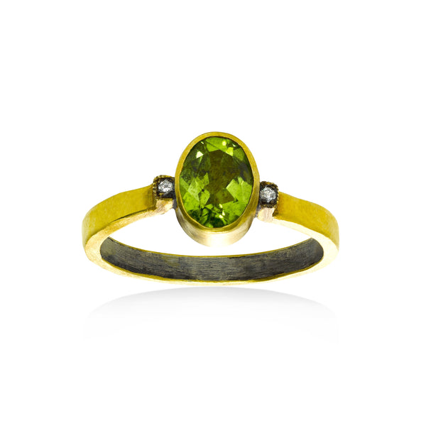 Oval Peridot and Diamond Ring, 24K Yellow Gold Plated