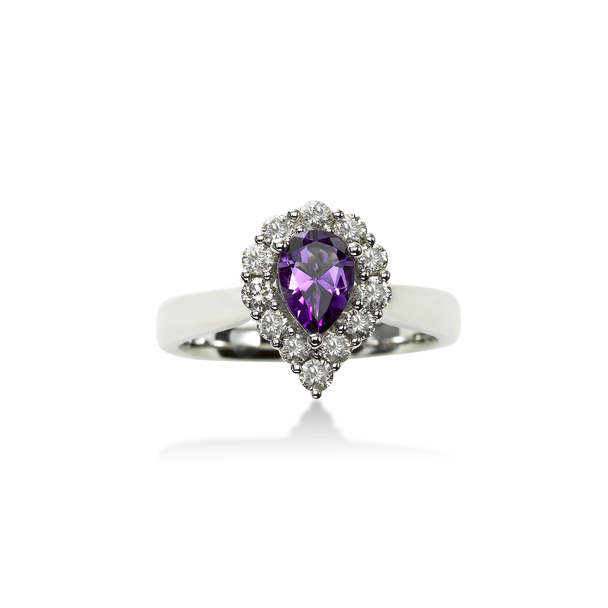 Pear Shape Amethyst and Diamond Ring, 14K White Gold