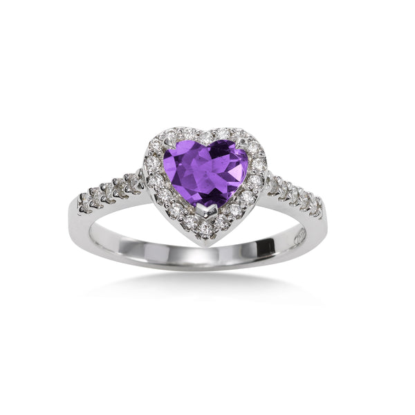 Heart Shaped Amethyst and Diamond Ring, 14K White Gold