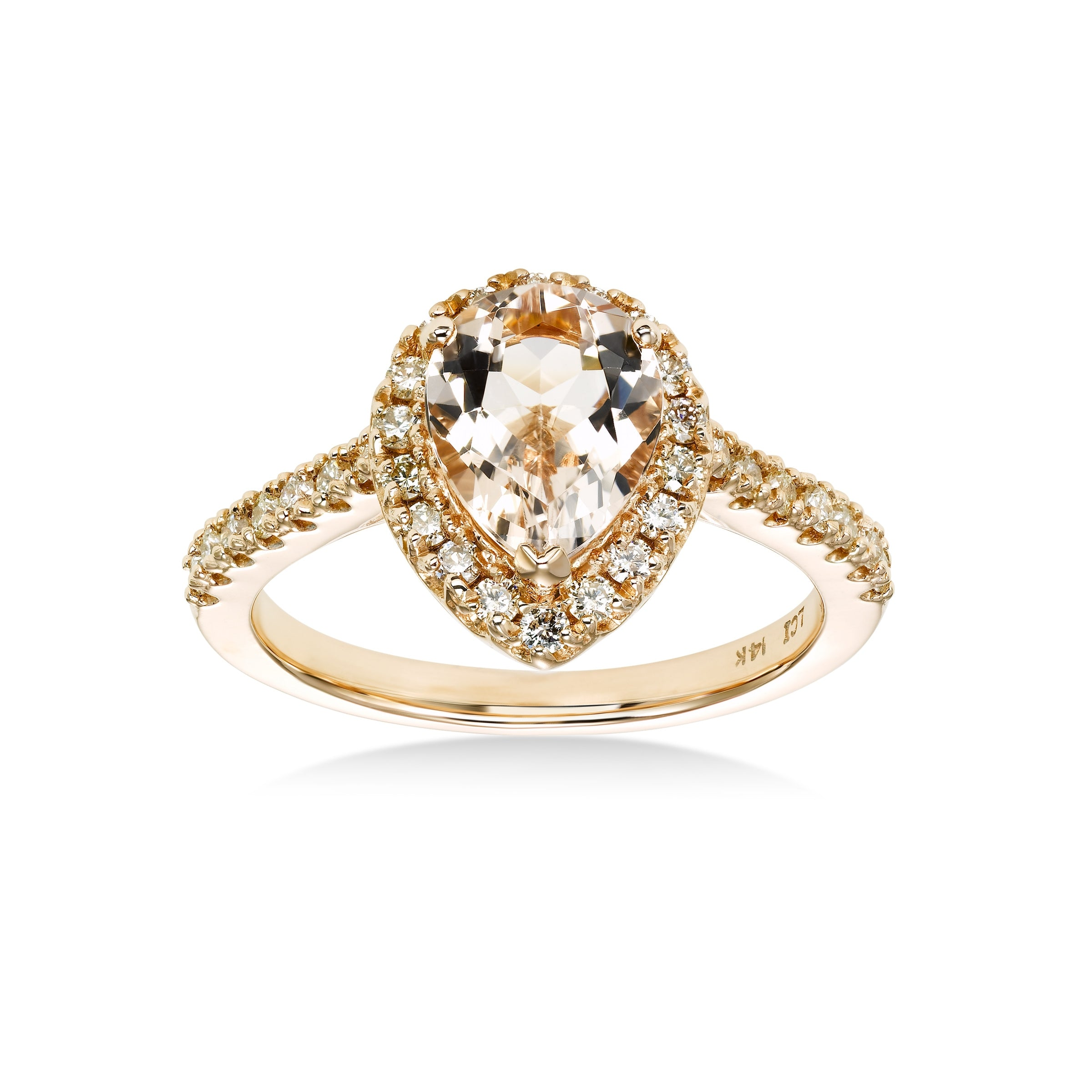 Pear Shape Morganite and Diamond Halo Ring,14K Rose Gold