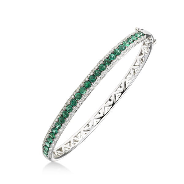 Emerald and Diamond Bangle Bracelet, 14K White Gold
