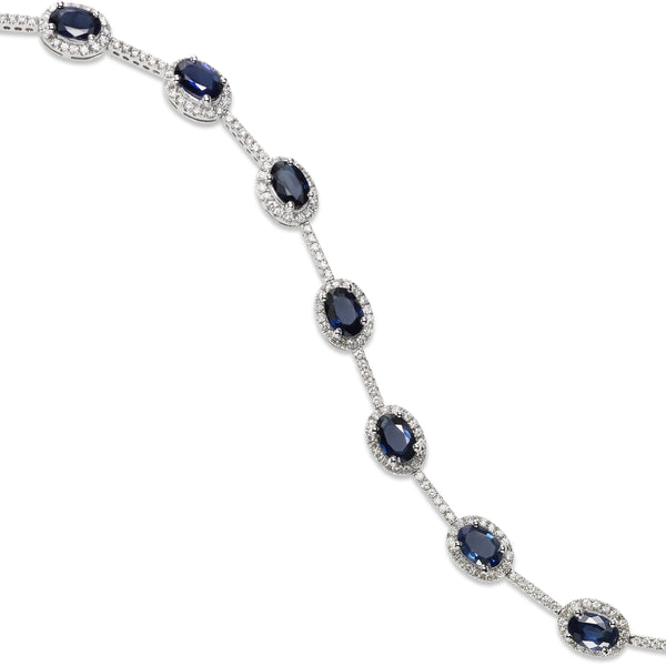 Oval Sapphire and Diamond Halo Bracelet, 14K White Gold