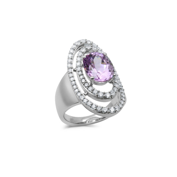 Oval Kunzite and Diamond Ring, 18K White Gold