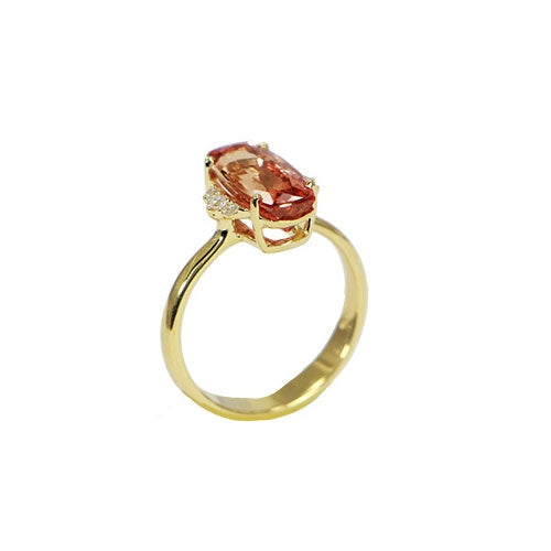 Oval Imperial Topaz Ring with Diamonds, 18K Yellow Gold