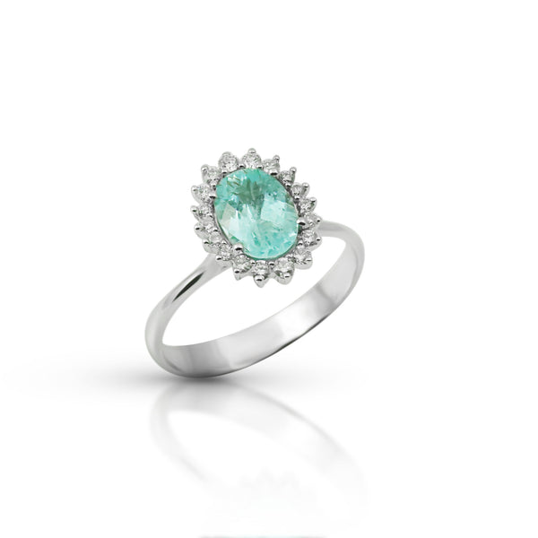 Paraiba Tourmaline and Diamond Ring, 18K White Gold