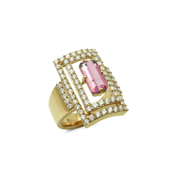 Pink Tourmaline and Diamond Statement Ring, 18K Yellow Gold