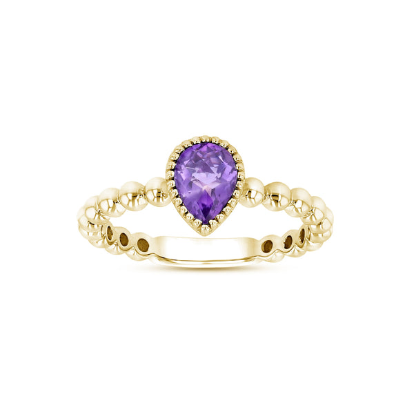 Bead Design Pear Shape Amethyst Ring, 14K Yellow Gold
