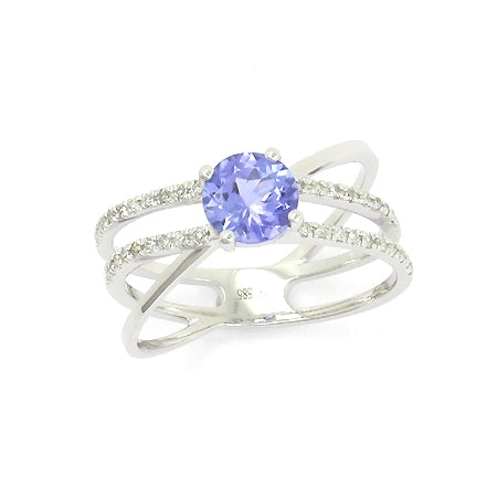 Round Tanzanite and Diamond Ring, 14K White Gold