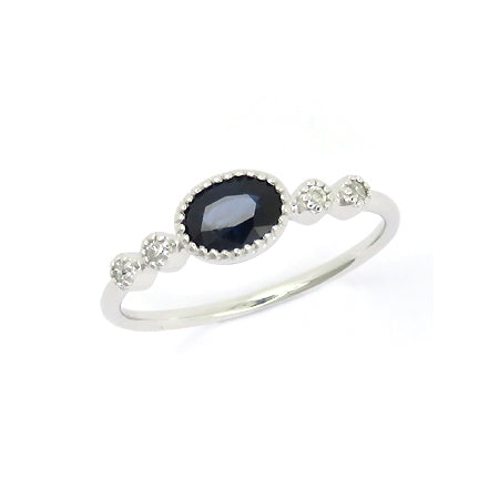 Oval Sapphire and Diamond Ring, 14K White Gold