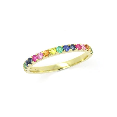 Multi Color Gemstone Rainbow Ring, 14K Yellow Gold