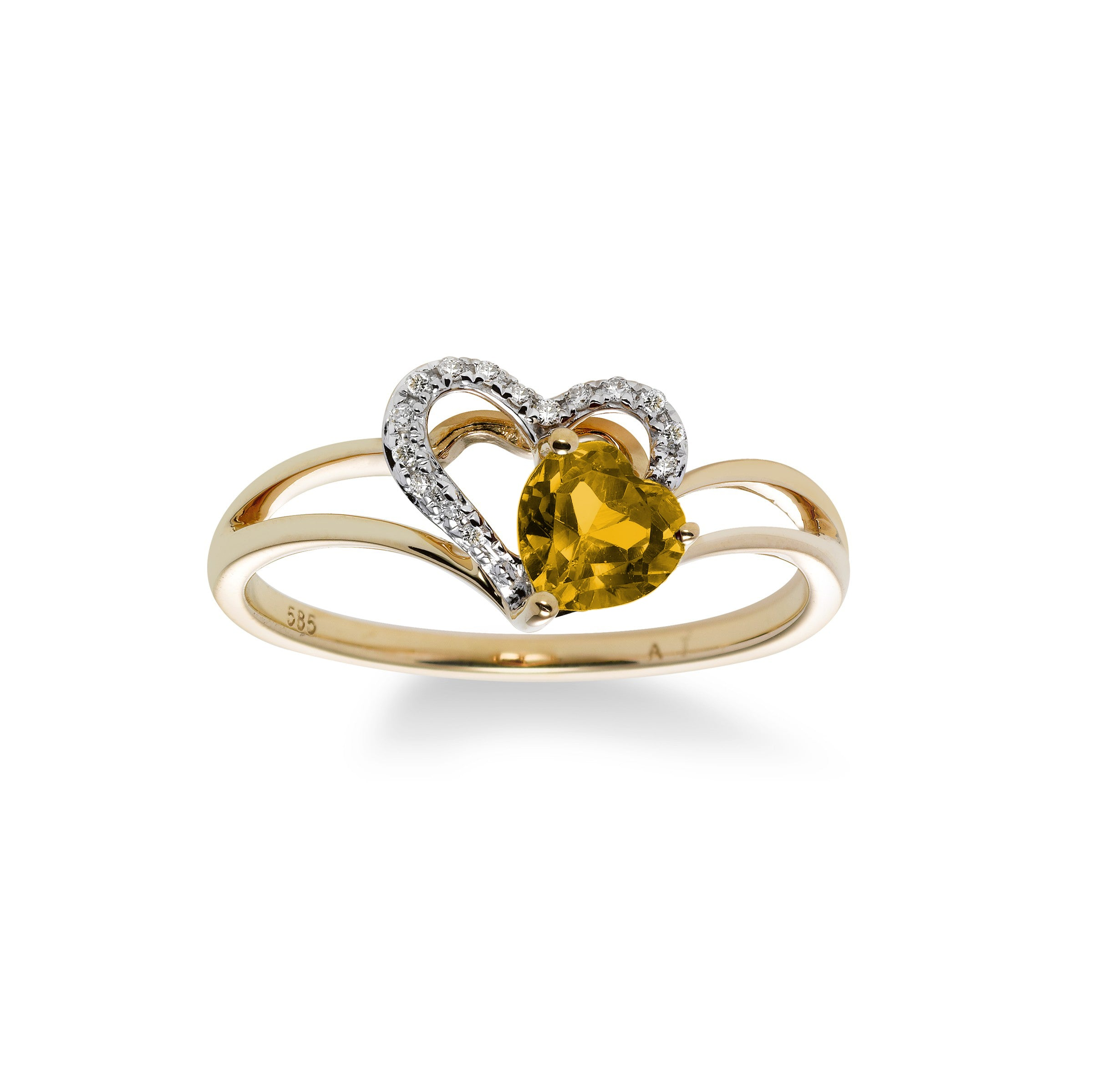 Citrine and Diamond Heart Ring, 14K Yellow Gold