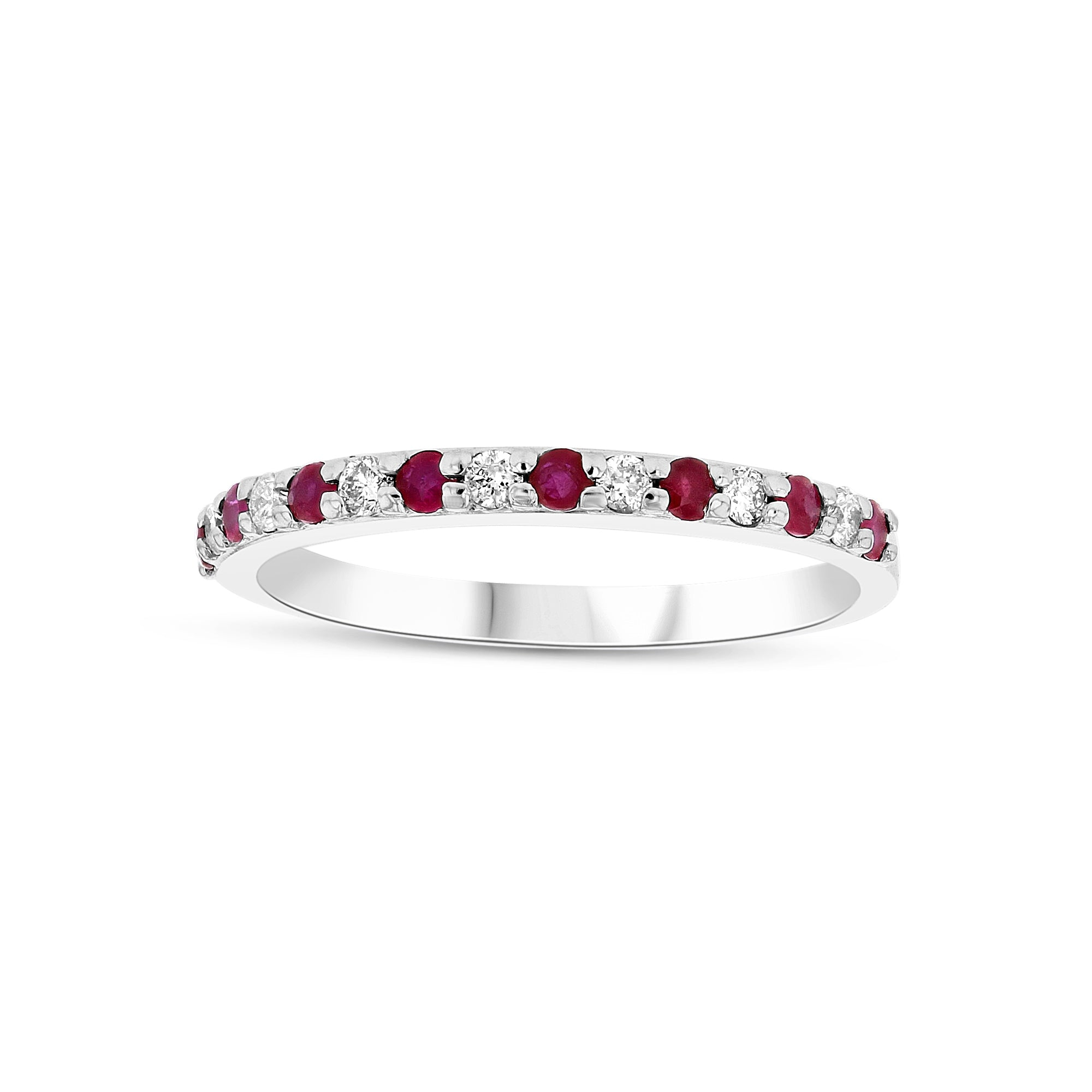 Halfway Around Ruby and Diamond Band, 14K White Gold