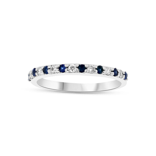 Halfway Around Sapphire and Diamond Band, 14K White Gold