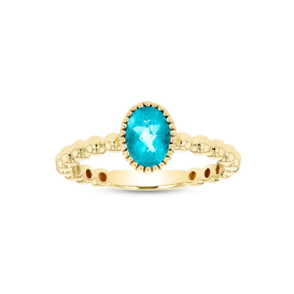 Bead Design Oval Blue Topaz Ring, 14K Yellow Gold