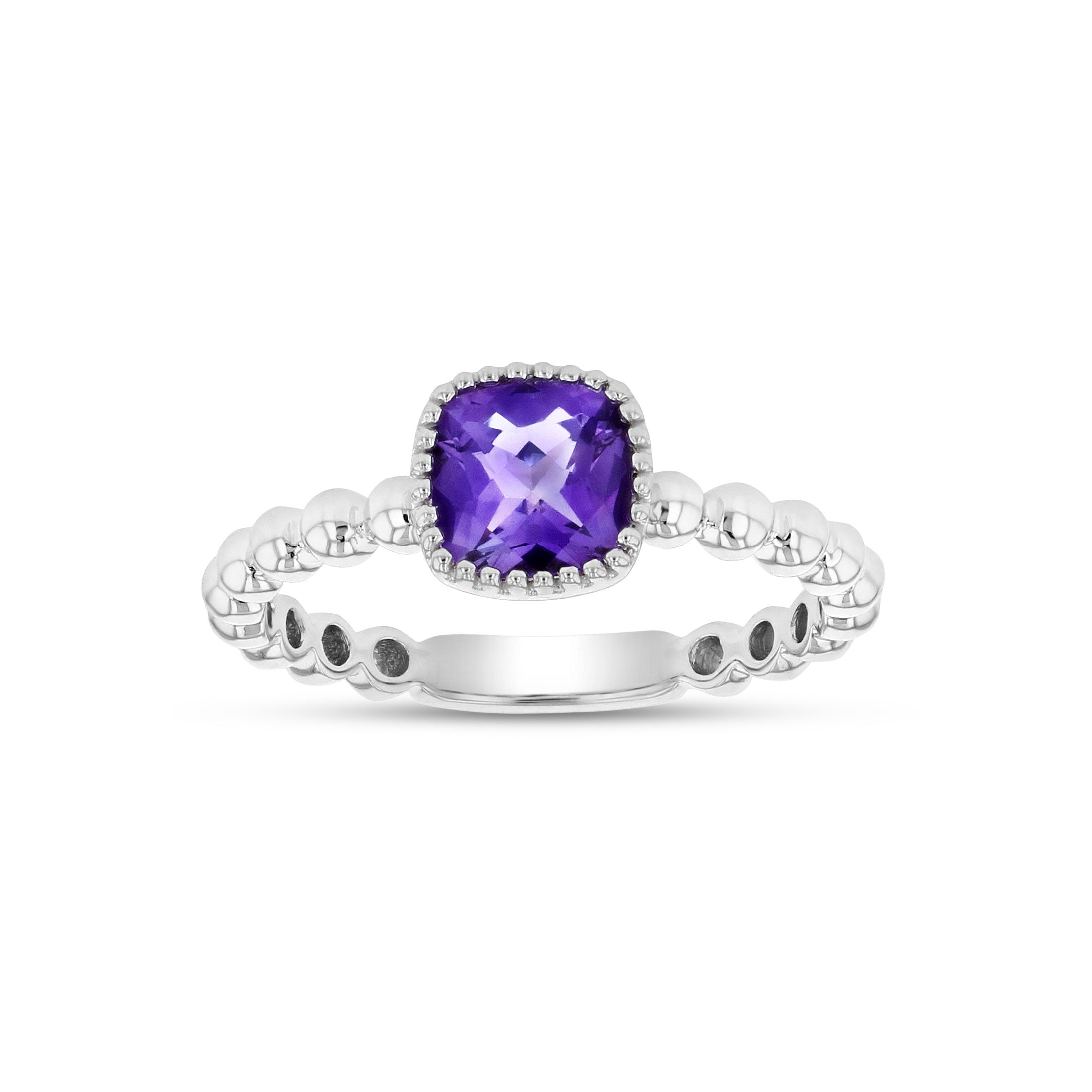 Bead Design Cushion Shape Amethyst Ring, 14K White Gold