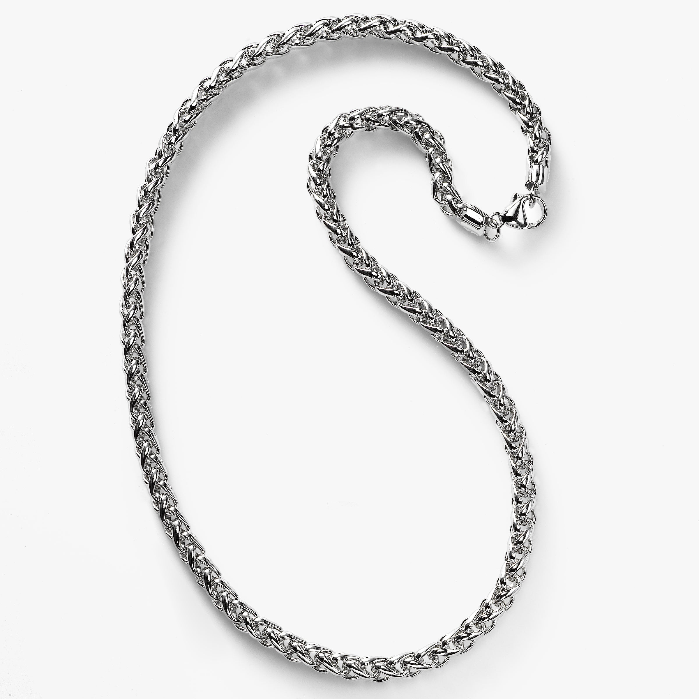 Three-Dimensional Wheat Chain Necklace, 18 Inches, Sterling Silver