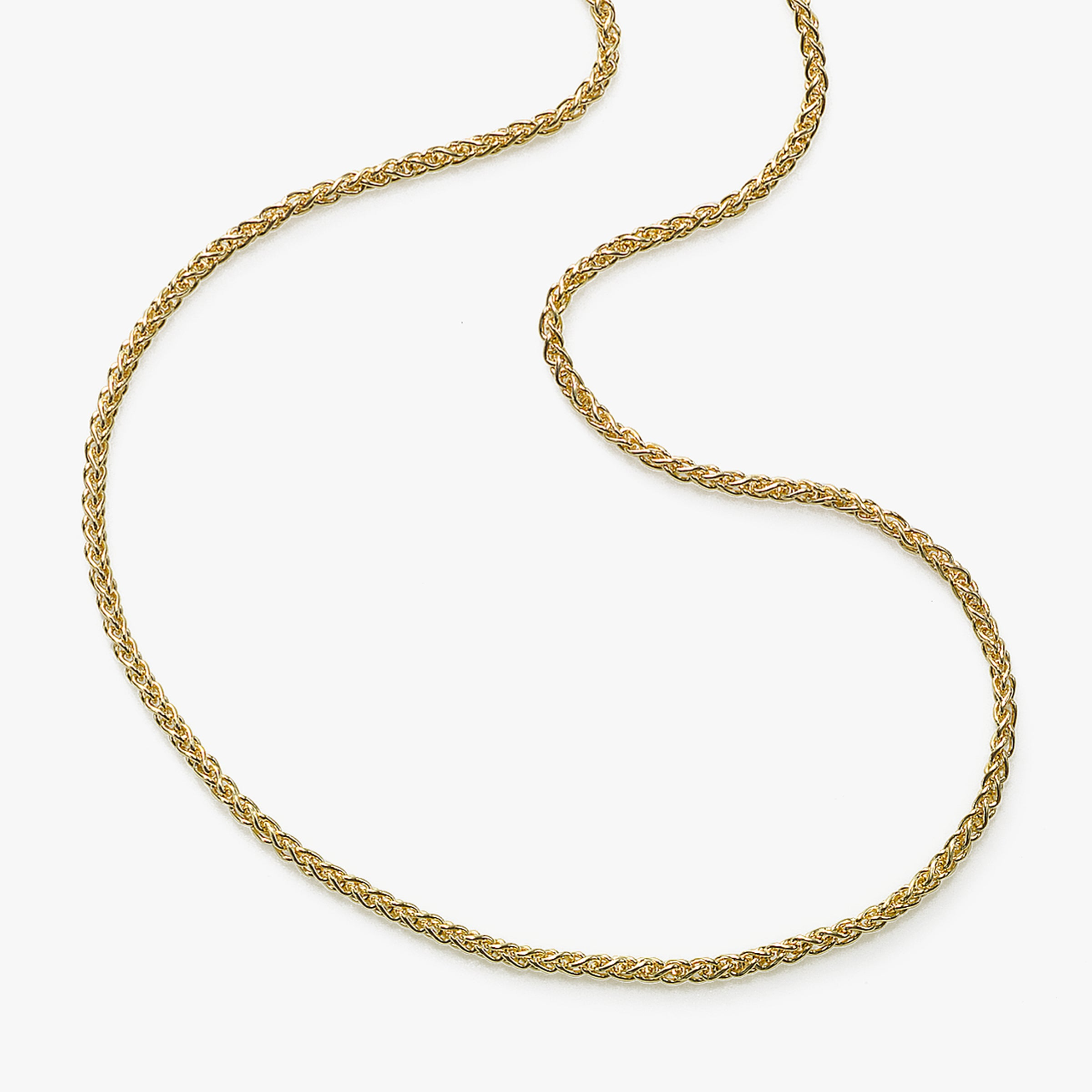 Round Wheat Chain, 18 Inches, 14K Yellow Gold