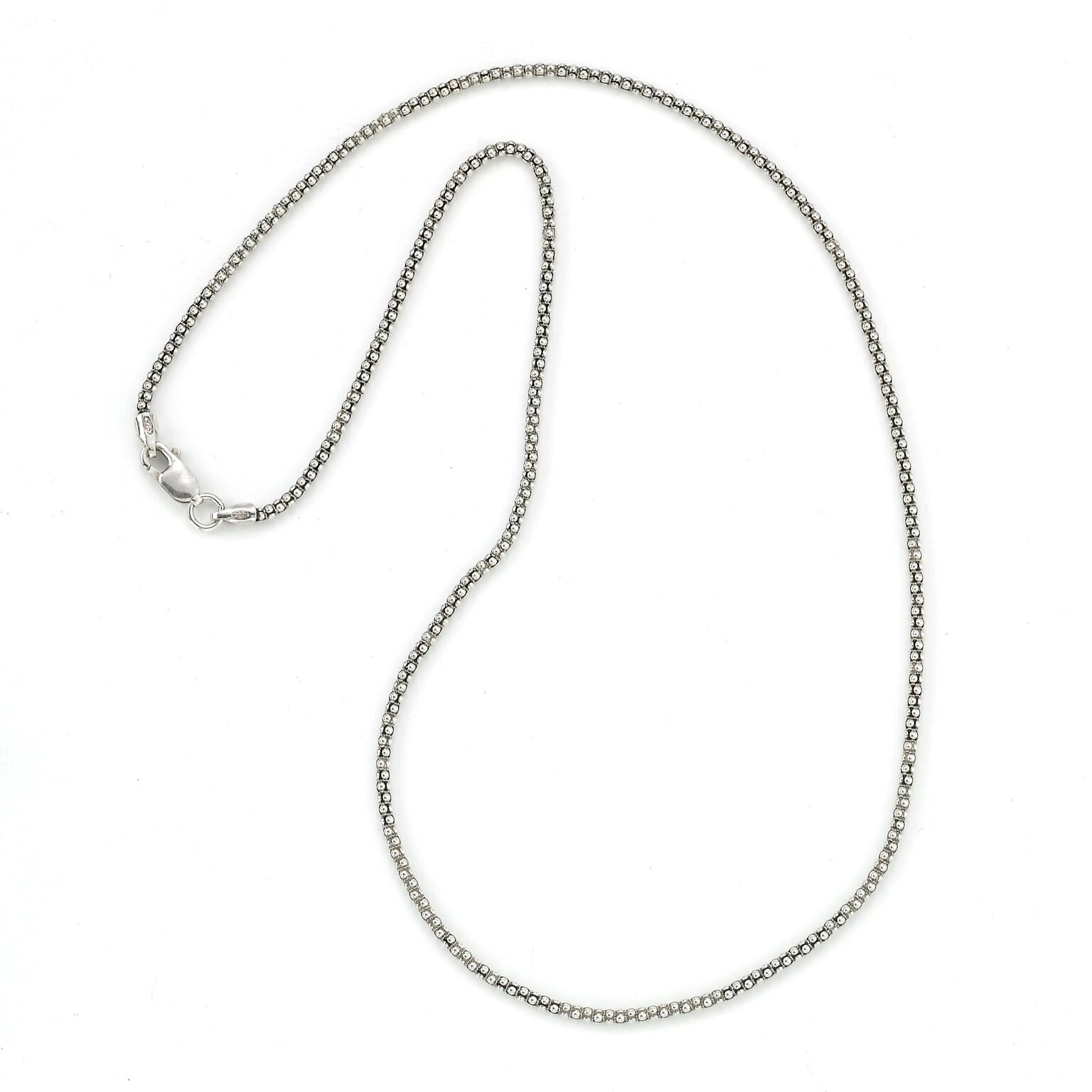 Popcorn Chain, 24 Inches, Oxidized Sterling Silver