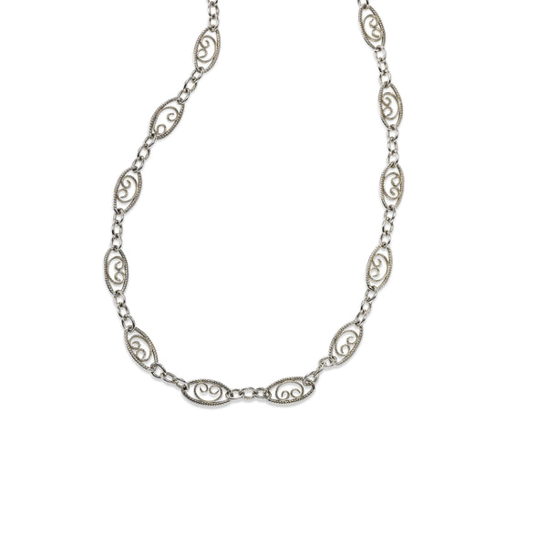 Filigree Scroll Design Necklace, 20 Inches, 14K White Gold