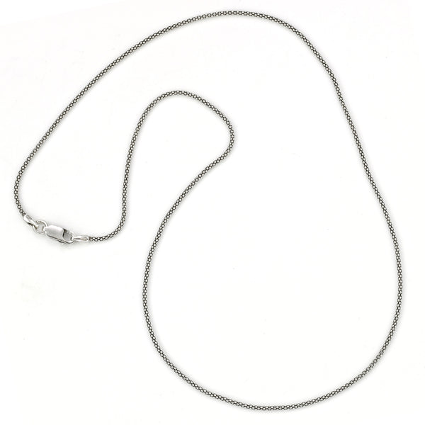 Thin Popcorn Chain, 30 Inches, Oxidized Sterling Silver